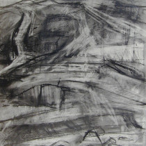 'Cliff-face-II',-charcoal-and-graphite-on-paper,-40-x-30cm