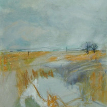 'Ochre-Landscape',-oil-and-charcoal-on-canvas,-34-x-30cm