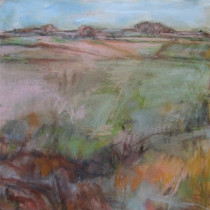 'Pink-Fields',-oil-on-canvas,-51-x-52cm-(Paintings-Landscape)
