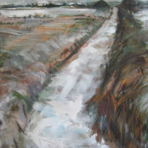 'Snowy-Path-to-Staxton-Village',-Janine-Baldwin,-oil-on-canvas,-115cm-x-88cm
