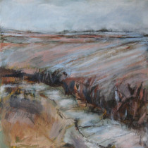 'Yorkshire-Wolds-in-Winter',-oil-and-charcoal-on-canvas,-47-x-47cm