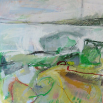 'Green-Bay',-oil-and-charcoal-on-canvas,-61-x-61cm