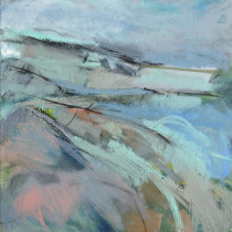 'Headland',-oil-and-charcoal-on-canvas,-51cm-x-51cm