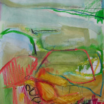 'Shallow-Waters',-oil,-oil-pastel-and-chinamarker-on-paper,-40cm-x-28cm